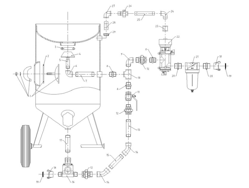 山东开泰单仓间歇式喷砂罐介绍 工作原理: 本机采用压送式喷砂(喷丸)机构,即利用压缩空气在高压罐内高速流动行成高压作用,将高压罐内的砂料通过输砂管喷出,然后随压缩气流由喷枪嘴高速喷射到工件表面,达到喷砂加工的目的。 产品特点: 1.配有简易磨料控制阀,此阀可以手动无级控制磨料流量; 2.